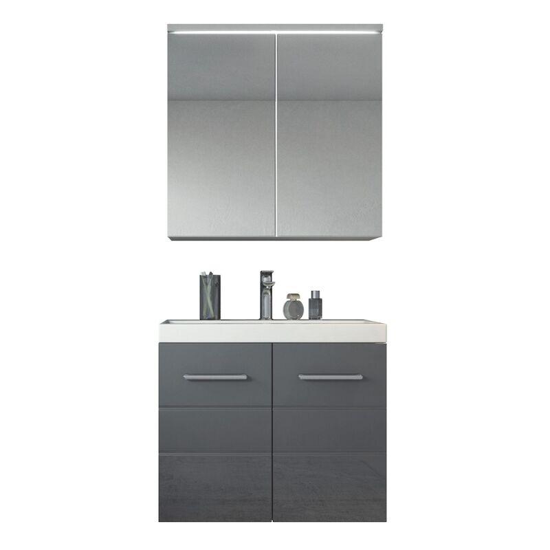 Badezimmer Badmöbel Set Toledo 02 60cm Waschbecken Hochglanz Grau - Unterschrank Schrank Waschbecken Spiegelschrank Schrank - BADPLAATS
