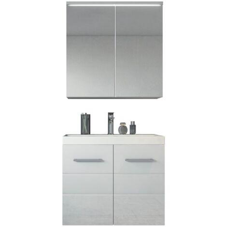 Badezimmer Badmöbel Toledo 02 60 Cm Waschbecken Hochglanz Weiß