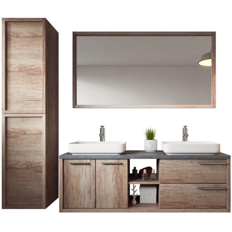 Badezimmer Badmöbel Set Vermont 150cm nature wood - Unterschrank Schrank Waschbecken Spiegel Hochschrank - BADPLAATS