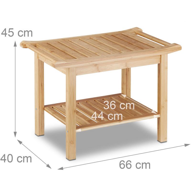 Badezimmer Bank Bambus, Sitzbank Bad, Ablage Badhocker Holz, HxBxT: 45 x 66  x 40 cm, Badezimmermöbel, natur