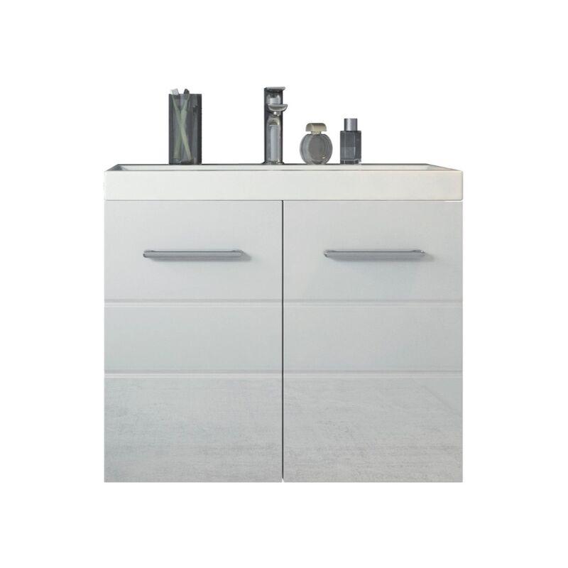 Badezimmer Badmöbel Set Toledo 01 60 x 35 cm Hochglanz Weiß - Unterschrank Schrank Waschbecken Waschtisch - BADPLAATS
