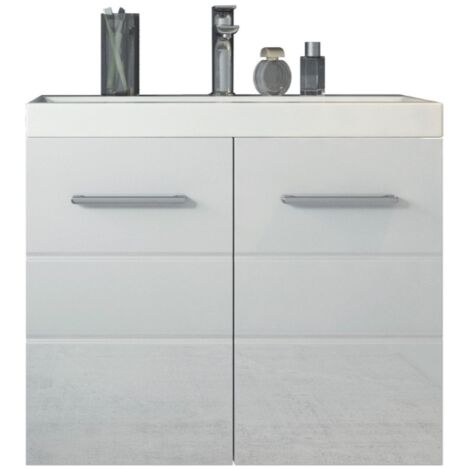 Unterschrank Hochglanz weiß grau Badschrank Badezimmermöbel Bad Schrank Spiegel