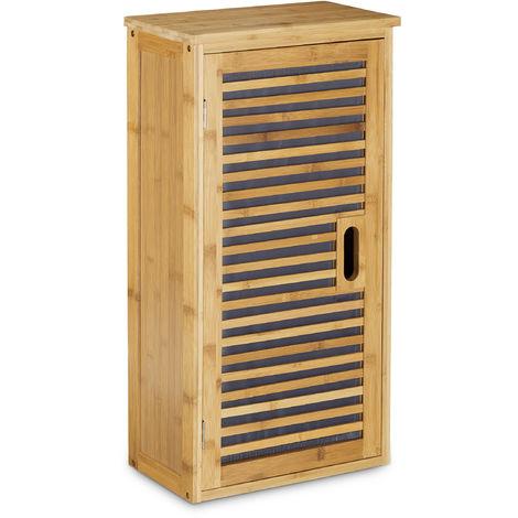 Relaxdays H/ängeschrank LAMELL Bambus HBT natur 66 x 60 x 20 cm Badschrank zum H/ängen mit Handtuchhalter Badezimmerschrank mit 2 T/üren und Regalfach Bad Schrank als Oberschrank Badh/ängeschrank