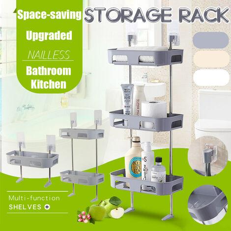 Badezimmer Küche Wandregal ohne Stempel Toilette Waschbecken Lagerregal Weiß Doppelschicht