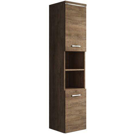 Badezimmer Schrank Paso 160cm Lefkas (Braun) – Regal Schrank Hochschrank  Schrank Möbel