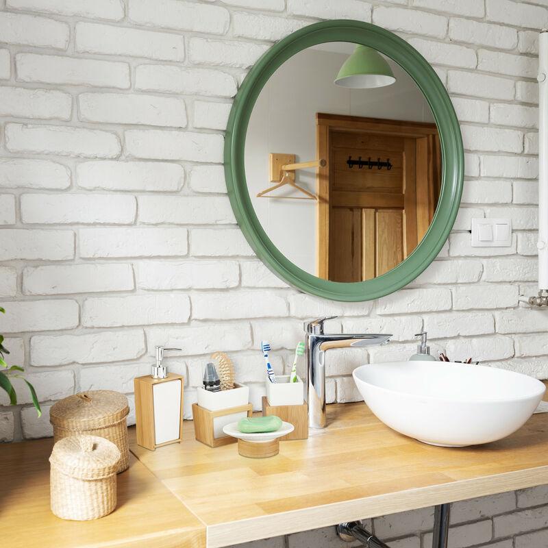 Badezimmer Set, 4-teiliges Badzubehör aus Keramik und Bambus, Seifenspender  und Zahnputzbecher, natur-weiß