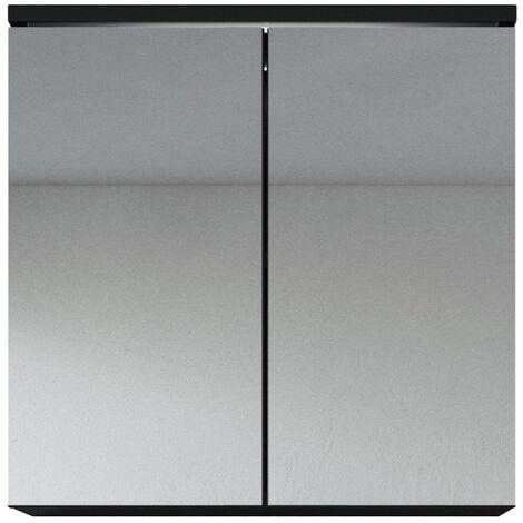 Top Badezimmer Spiegelschrank Toledo 60 cm Schwarz – Stauraum XU45