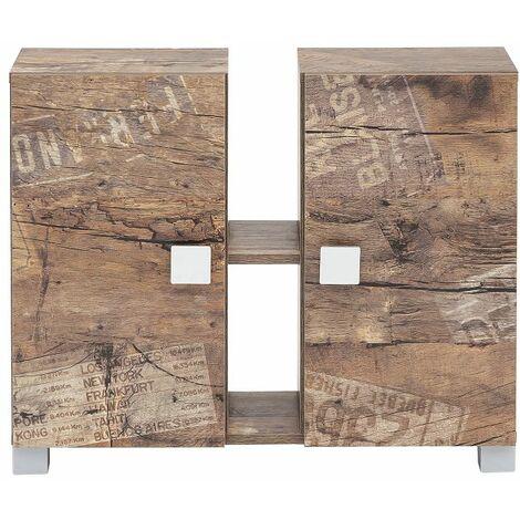 Badezimmer Waschbecken-Unterschrank EVERE-04 in Panamaeiche matt mit Holzstruktur B/H/T ca. 70,5/58,8/23,3cm