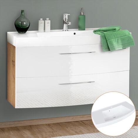 Badezimmer Waschtisch 100cm FLORIDO-03-OAK weiß Hochglanz mit Wotaneiche, B/H/T: ca. 100/54/47cm