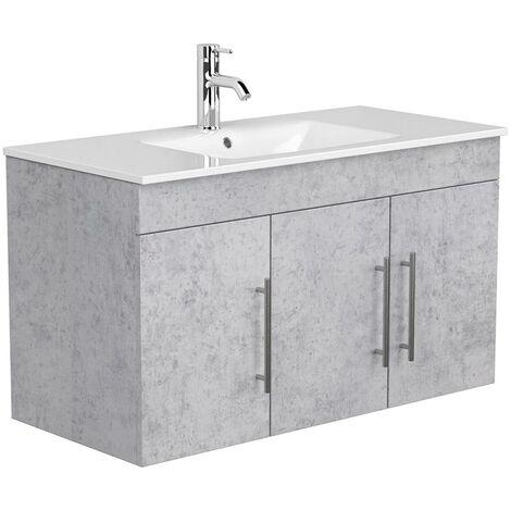 Badezimmer Waschtisch 100cm TABRIS-02 - in Beton-Optik grau, mit Keramikbecken - B/H/T: 100/56/46cm
