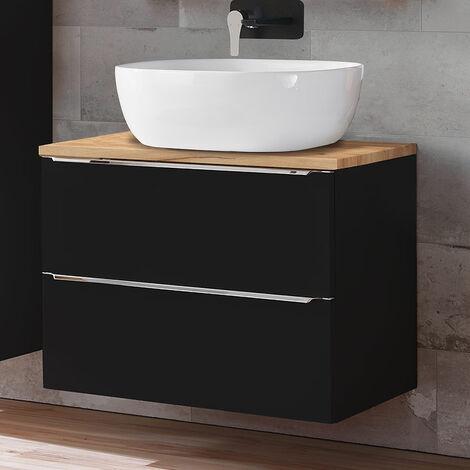 Badezimmer Waschtisch Set mit 50cm Keramik-Aufsatzwaschbecken TOSKANA-BLACK-56 seidenmatt anthrazit & Wotaneiche BxHxT ca. 60/94/48cm