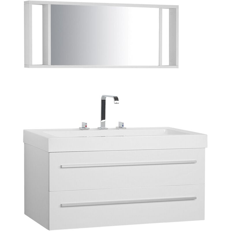 Badmöbel Weiß MDF Platte Acryl 92 x 100 x 47 cm Modern Exklusiv Glamourös Trendy Farbe Praktisch Multifunktional Badezimmer - BELIANI
