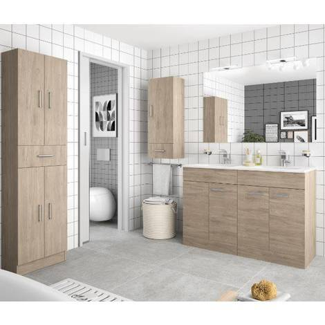 Badezimmerschrank Braun.Badezimmerschrank 1200 In Colorado Braun Holz Mit