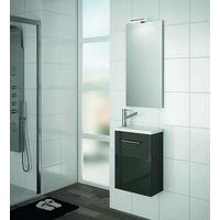 Badezimmerschrank 400 in grau glänzendem Holz mit Waschbecken Micro