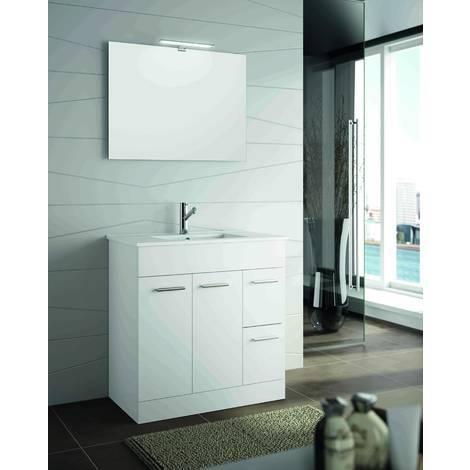 Badezimmerschrank 800 in wei em holz mit waschbecken for Badezimmerschrank mit waschbecken