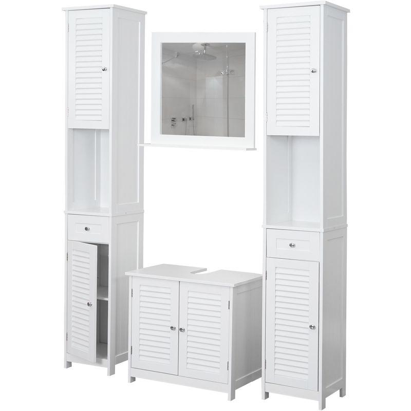 Badezimmerset HHG-451, Badmöbel-Set 2x Hochschrank Waschbeckenunterschrank Wandspiegel, Landhaus weiß