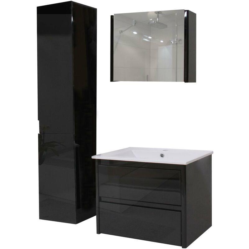 Badezimmerset XL 618, Waschtisch Spiegelschrank Hängeschrank, hochglanz ~ schwarz - HHG