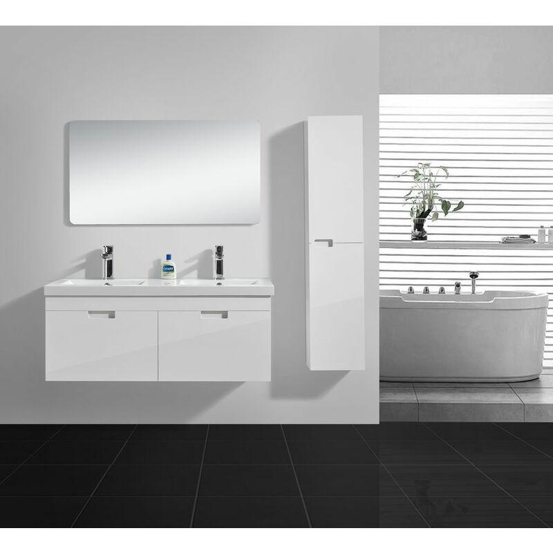 Badmöbel-Set GLOSSO 120 (hochglanz-weiß) - Weiß