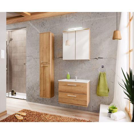 Badmöbel 3-tlg Badezimmerset WENDO Eiche inkl.Waschtisch 60cm