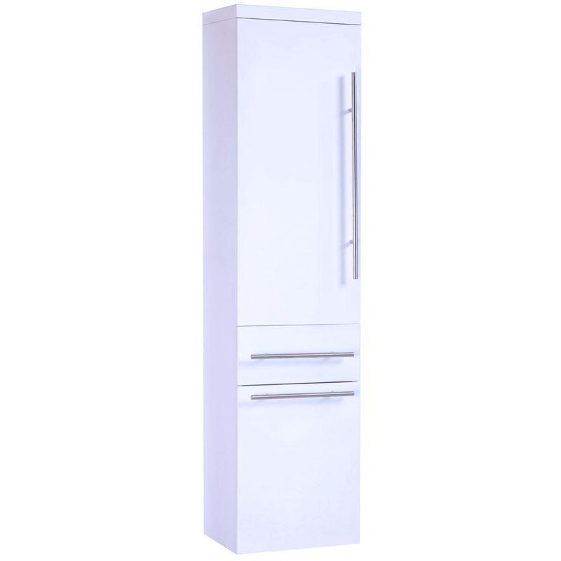 Badmöbel Badezimmer Hochschrank Touch LED Weiß Hochglanz 130 cm - MIDORI