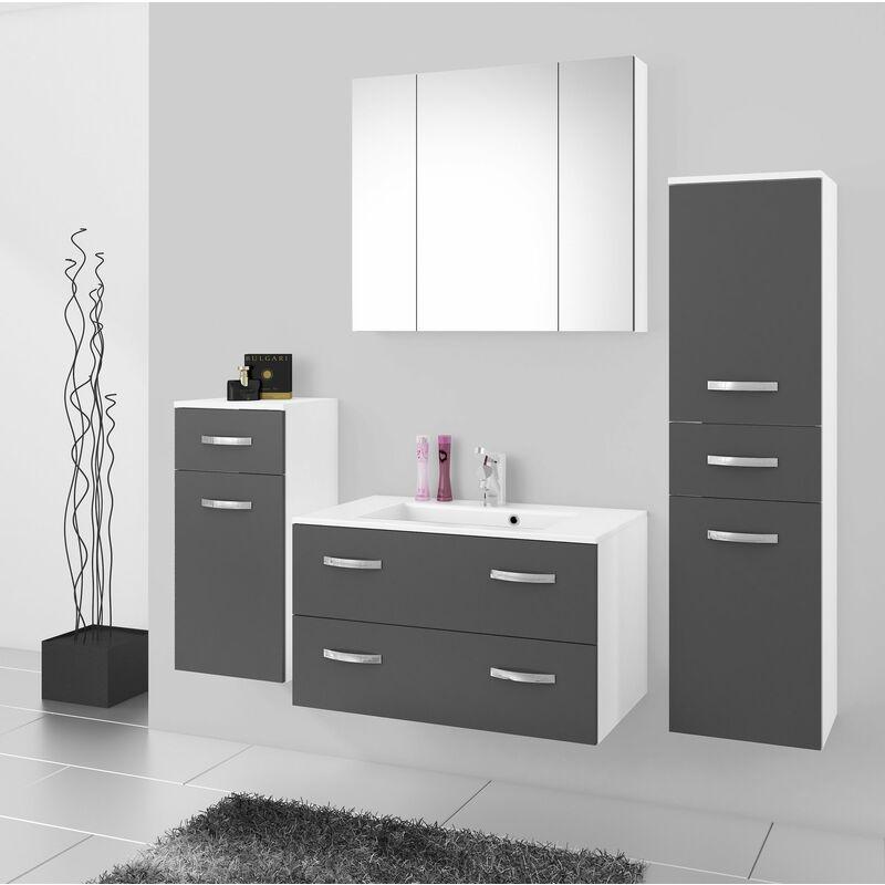 Badmöbel Badezimmer Regina 5tlg Set in Grau matt + Weiss matt 80 cm Waschtisch - KÜCHEN PREISBOMBE