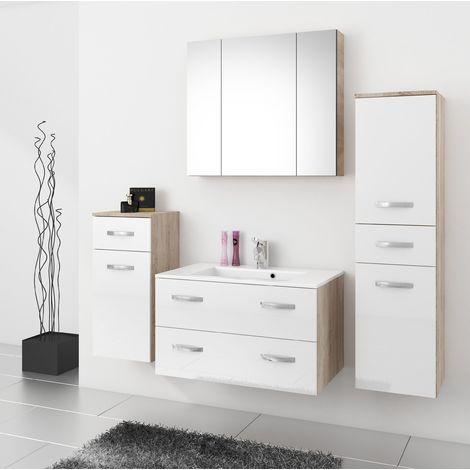 Badmöbel Badezimmer Regina 5tlg Set in Weiss Hochglanz + Sonoma 80 cm Waschtisch