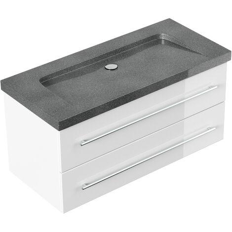 Badmöbel Granit G654 Damo 100 cm ohne Hahnloch weiß hochglanz