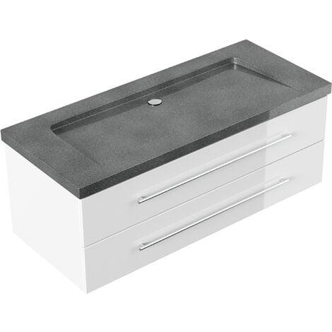 Badmöbel Granit G654 Damo 130 cm ohne Hahnloch weiß hochglanz