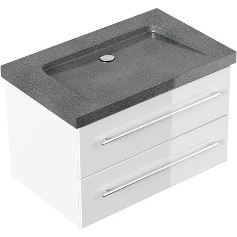 Badmöbel Granit G654 Damo 75 cm ohne Hahnloch weiß hochglanz