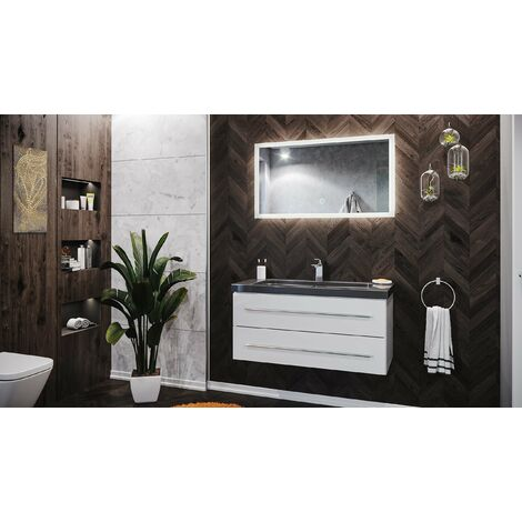 Badmöbel Granit India Black Damo 100 cm 1 Hahnloch weiß hochglanz & LED Spiegel
