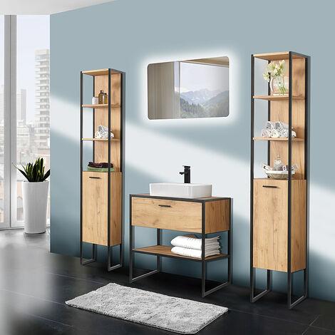 Badmöbel im Industrial-Style Set 5-teilig MANHATTAN-56 Eiche/schwarz B/H/T: 200/200/46cm