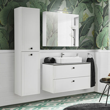 Badmöbel Komplett Set mit 100cm Waschtisch & LED-Spiegelschrank CHALET-56 matt weiß mit Betonoptik, B/H/T ca. 160/200/47 cm
