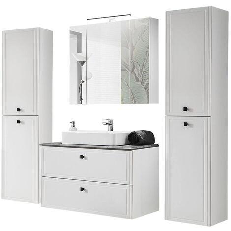 Badmöbel Komplett Set mit 100cm Waschtisch & LED-Spiegelschrank CHALET-56 matt weiß mit Betonoptik, B/H/T ca. 220/200/47 cm