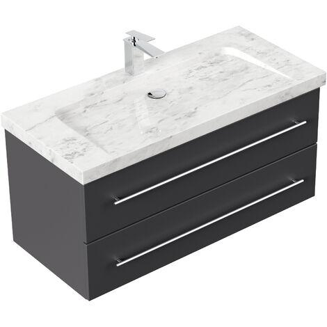 Badmöbel Marmor Carrara White Damo 100 cm 1 Hahnloch anthrazit