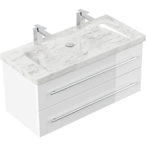 Badmöbel Marmor Carrara White Damo 100 cm 2 Hahnlöcher weiß hochglanz