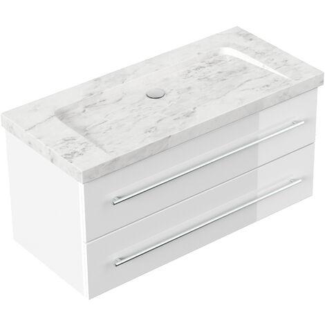 Badmöbel Marmor Carrara White Damo 100 cm ohne Hahnloch weiß hochglanz