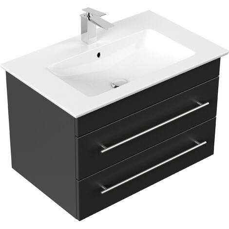Badmöbel mit Villeroy & Boch Venticello Waschbecken 80 cm schwarz seidenglanz
