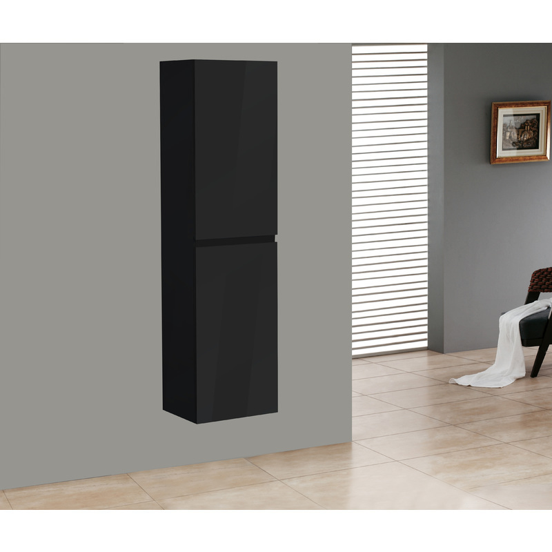 Badmöbel Seitenschrank Flat in hochglanz-schwarz - IMPEX-BAD