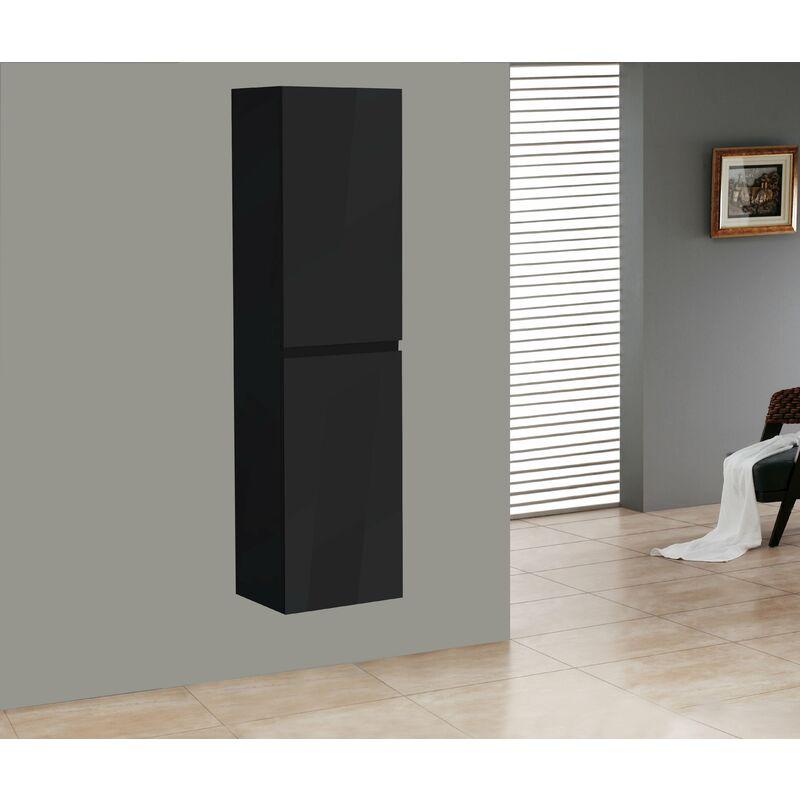 Alphabad - Badmöbel Seitenschrank SWIFT in hochglanz-schwarz