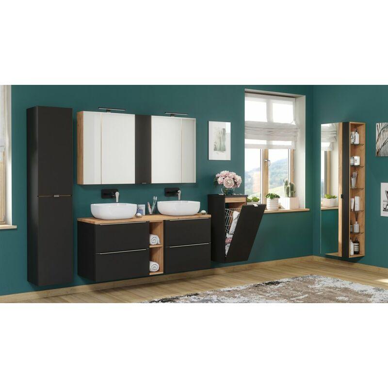 Badmöbel Set 10-tlg Badezimmerset PERUGIA Schwarz ohne Waschbecken - FUN MOEBEL