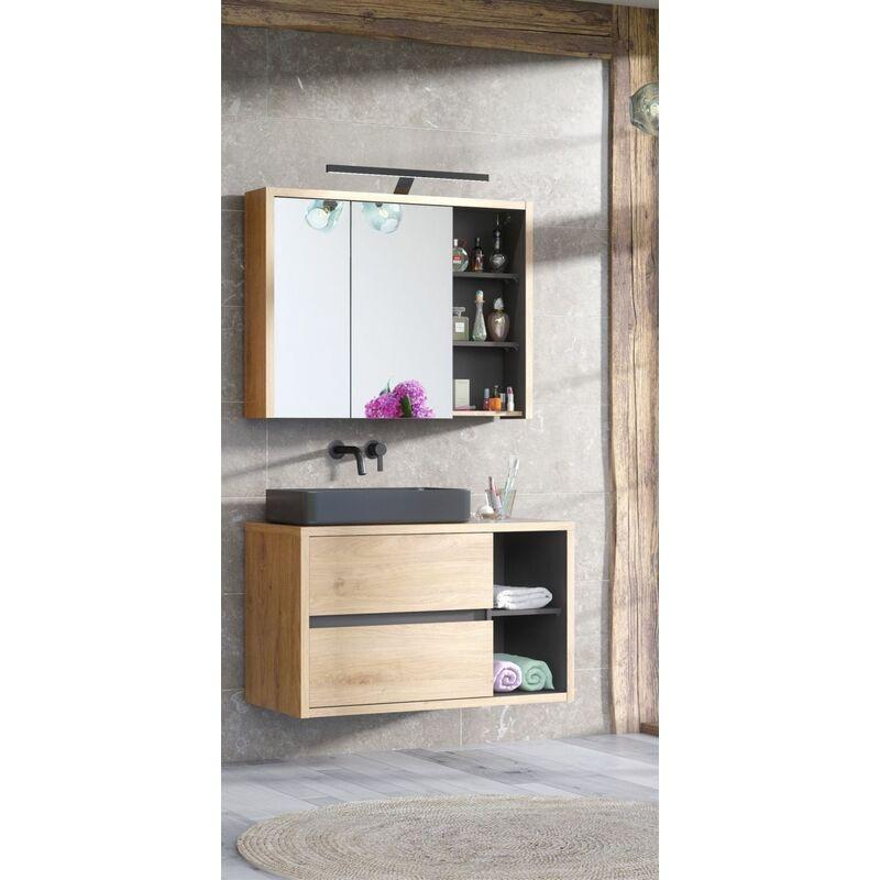 Badmöbel Set 2-tlg Badezimmerset MARINA ohne Waschtisch - FUN MOEBEL