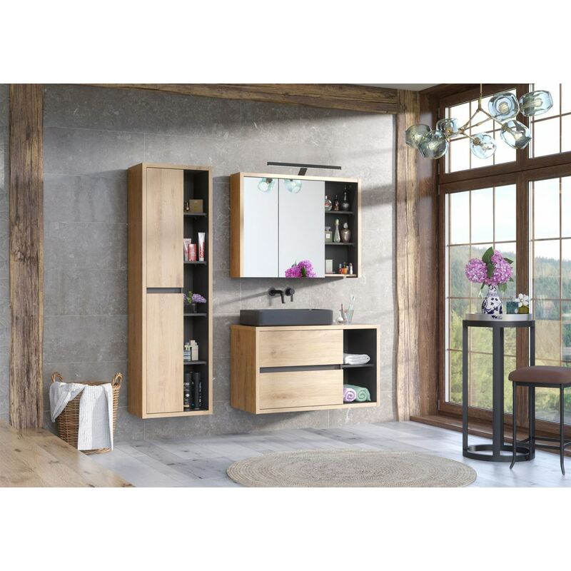 Badmöbel Set 3-tlg Badezimmerset MARINA ohne Waschtisch - FUN MOEBEL