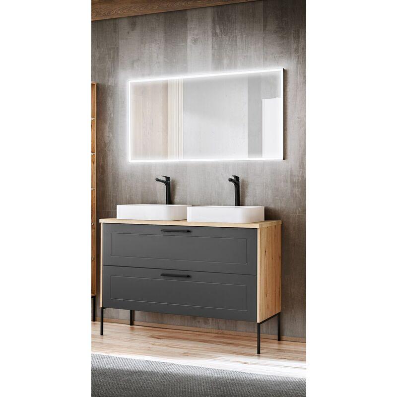 Badmöbel Set 3-tlg Badezimmerset PANTIN Grau ohne Waschtisch - FUN MOEBEL