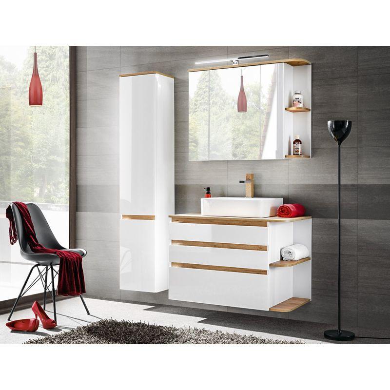 Badmöbel Set 3-tlg Badezimmerset PLATIN Weiss HGL ohne Waschtisch - FUN MOEBEL