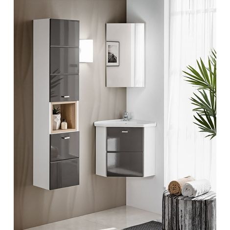 Badmöbel 3 tlg Set Badezimmerschrank Waschbecken 50cm Spiegelschrank  Weiß Grau