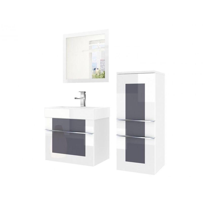 Badmöbel Set 3-tlg DAWINO Set.1 Weiss-Grau inkl.Waschtisch 50 cm - FUN MOEBEL