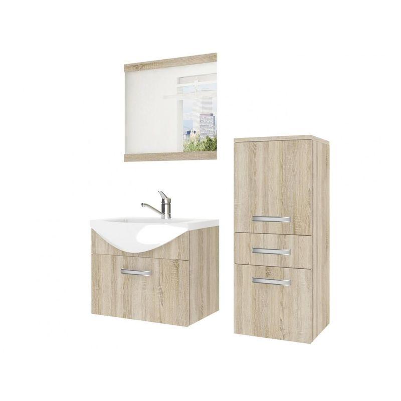 Badmöbel Set 3-tlg LEANO Set.1 Sonoma Eiche matt inkl.Waschtisch 50 cm - FUN MOEBEL