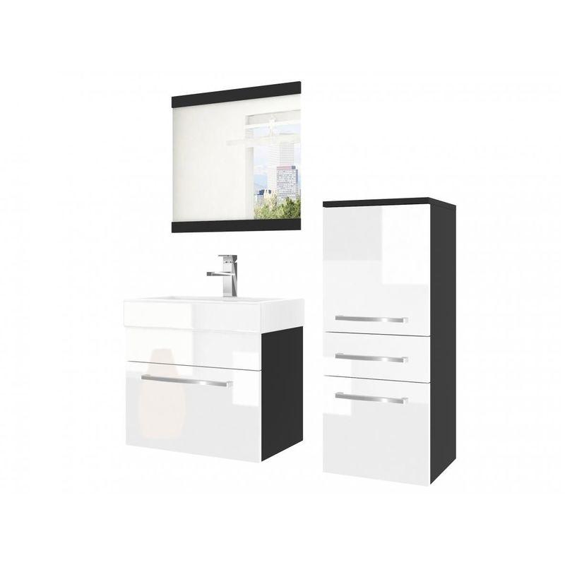 Badmöbel Set 3-tlg MARIO Set.1 Schwarz-Weiß HGL inkl.Waschtisch 50 cm - FUN MOEBEL