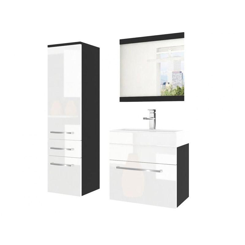 Badmöbel Set 3-tlg MARIO Set.2 Schwarz-Weiß HGL inkl.Waschtisch 50 cm - FUN MOEBEL