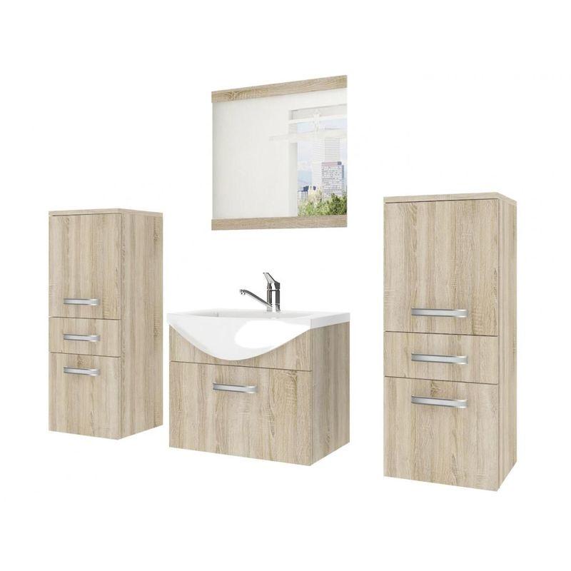 Badmöbel Set 4-tlg LEANO Set.3 Sonoma Eiche matt inkl.Waschtisch 50 cm - FUN MOEBEL